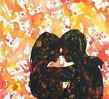 Couple kissing. Watercolor painting. Valentine's Day art by rfoxphoto