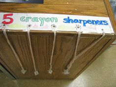 Tie individual crayon sharpeners to strings, attach to desk. Put a trashcan below! From One Happy Art Teacher blog.