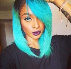 cabelos coloridos verde agua - Pesquisa Google