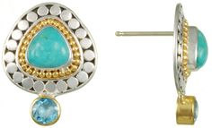 Sterling silver earrings with Kingman turquoise, blue topaz, and 22K gold vermeil.  Part of Michou's Harmonic's collection