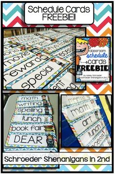 Labels for your classroom supply bins, labels for your book bins, labels for your teacher trays and drawers, a lunch count display, a few tips and tricks to organize paper work annnnd a schedule card FREEBIE! :) :)