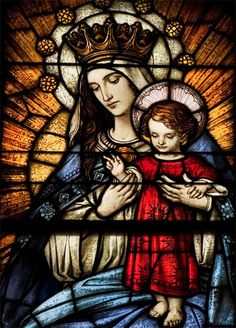 Mother Mary & Child, Jesus stain glass. Queen Mary~ Photobucket.com