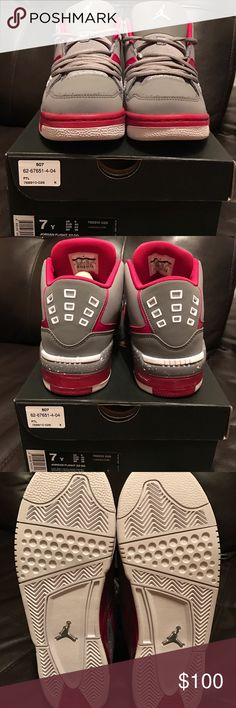 Youth Jordan Flight 23 GG Youth Jordan Flight 23 GG. New w/ box have 2 sizes available. 7Y & 6Y. Grey and Fuchsia color Jordan Shoes Sneakers
