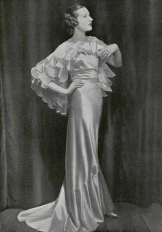 Evening gown in pink satin by Maggy Rouff, 1935