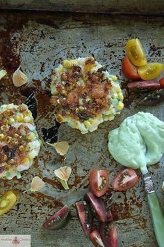 Shrimp and Corn Cakes with Spicy Avocado Sauce by Heather Christo, via Flickr