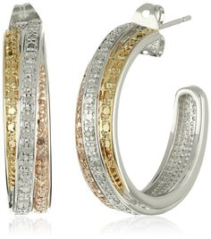 18k Yellow and Rose Gold-Plated Brass and Diamond C-Hoop Earrings >>> See this valentines gift ideas.
