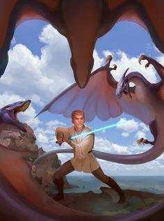 """Young Obi-Wan"" by Lia Booysen ( Jedi Apprentice: The Rising Force) Star Wars Clone Wars, Star Wars Art, Han Shot First, Obi Wan, Far Away, New Movies, Science Fiction, Fan Art, Stars"