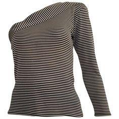 Saint Laurent 1980s Black White One Shoulder Knit Top.  @1stdibs #YSL #SaintLaurent #1980s #top #vintage #fashion #forsale