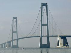 Great Belt Bridge, Denmark - The Great Belt bridge was opened in 1998 and runs between the Danish islands of Zealand and Funen. Its total length is 6,790 meters (22,277 ft) and max height of 254 meters (833 ft) makes it is the third longest suspension span bridge in the world and 8th tallest bridge in the world