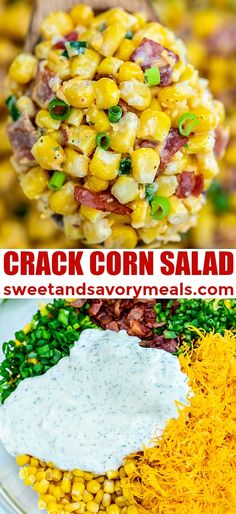 Crack Corn Salad is crunchy, creamy, sweet, sour, and savory all at the same time! Make this quick side dish for your cookouts this summer! sides Crack Corn Salad [video] - Sweet and Savory Meals Side Dish Recipes, Veggie Recipes, Cooking Recipes, Healthy Recipes, Recipes With Corn, Carrot Recipes, Ham Recipes, Noodle Recipes, Casserole Recipes