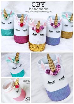 Fun unicorn mason jars! You can use them for storing makeup brushes, paintbrushes, pencils, etc. cute for a party. (affiliate link)