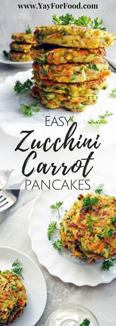Crispy and pan-fried on the outside with soft, vegetable-filled insides! These Zucchini Carrot Pancakes are a tasty and colourful dish that can be served for breakfast, lunch, or as a snack!   #Fritters   #Vegetarian   #Zucchini   #Carrots   #EasyRecipes   #30minutemeals   #Pancakes