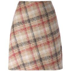 Carven Check Print Mini Skirt (19.305 RUB) ❤ liked on Polyvore featuring skirts, mini skirts, multicolour, colorful skirts, multi color skirt, multi colored skirt, mini skirt and short brown skirt