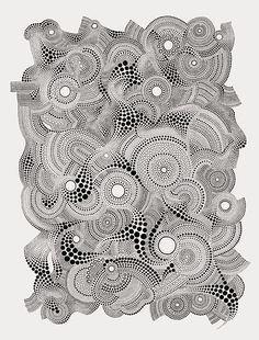 """Original Art Print, Felicity/Composition 3, Black and White Circle Ink Drawing, 20""""x26"""". $15.00, via Etsy."""