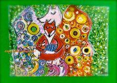 KlimtZüge, Hope II mit Fuchs, ACEO-Kärtchen von ★・゚・ 。・。Amylisa-Malerei  。・。・゚ ★ auf DaWanda.com
