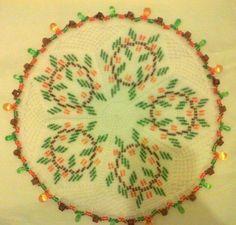 Beaded milk jar doilie Crochet Doilies, Pot Holders, Milk, Jar, Beads, O Beads, Doilies Crochet, Beading, Hot Pads