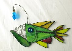 Blue Lured Anglerfish Stained Glass  by trilobiteglassworks