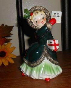 Vintage 1950's Napco Christmas Shopper Girl Figurine Mailing Letter   eBay