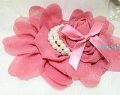 1 Large Rose Blush Chiffon Flower Frozen Fabric Flower Frozen inspired-Hair Bow Hairclip Flowergirl Wedding Bridal - DIY Supplies