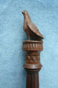 Magnificent antique Black Forest carved treen needle case/holder c1870, beautifully detailed and having a carved bird to the top of the pull off lid.    In excellent condition with just the very tip of the bird's beak missing, which I imagine happened a considerable time ago, as the patina and colour are the same as the rest of the case. Measures 12cm high, and 3.8cm in diameter across the base