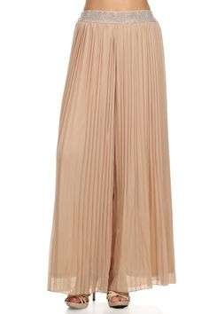 Solid color, high waisted, full length, pleated pants with jeweled waist band.