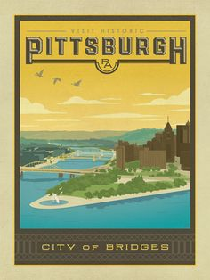 Pittsburgh, PA - Anderson Design Group has created an award-winning series of classic travel posters that celebrates the history and charm of America's greatest cities and national parks. Founder Joel Anderson directs a team of talented Nashville-based artists to keep the collection growing. This print celebrates the beauty of downtown Pittsburgh.