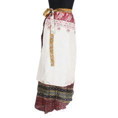 5213d11d4e0 Vintage Silk Sari Magic Wrap Around Skirt 38