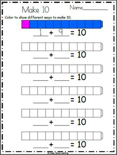 Free math addition worksheet. Color the connecting cubes to show how to make 10 multiple ways. For example color 1 red+ 9 blue, then color 2 red + 8 blue, etc.