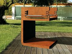 C-BQ barbecue is made of corten steel with a stainless steel half grill. Add options: Full stainless steel grill upon request. Anti-Washout treatment available for corten steel. Design Barbecue, Barbecue Grill, Grill Design, Grilling, Modern Fire Pit, Wood Store, Fire Pit Designs, Patio Accessories, Steel House