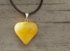 Butterscotch Baltic amber heart pendant Amber by FlowerOfParadise #heartpendant #etsyspecialt