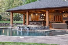 Pool With Outdoor Living Spaces | Outdoor Kitchen   Outdoor Fireplace    Swimming Pools Jackson, MS