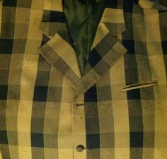 Men's Falcone Black And Yellow Checkered Suit Jacket 54R Big And Tall Pimp #Falcone #FourButton