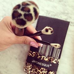 Animal print make-up brushes.