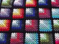Very cool use for multicolored yarns! Karen Wiederhold: Mitred Granny Square Blanket - Free Crochet Pattern