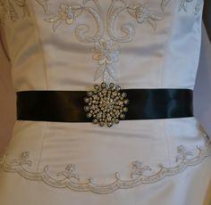 Wedding sash rhinestone bridal sash black by specialtouchbridal 27 99