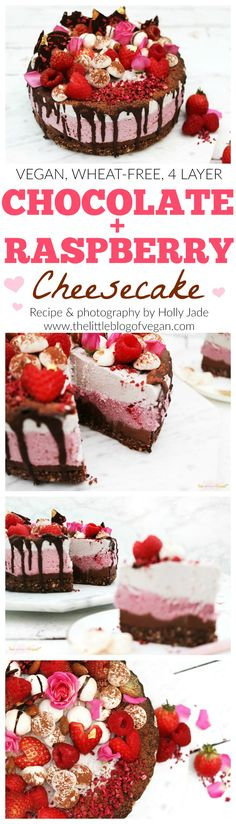 Vegan, wheat-free and natural sugar 4 layer cheesecake! With chocolate and raspberry, this makes the perfect Valentines dessert for your loved one!