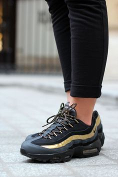 e91835025d2 Nike Air Max 95 Black Gold Trainers Using a special material so that shoes  look very stylish