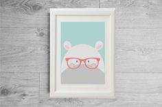Illustration hippopotamus with glasses print - Kid's room wall art - Nursery art - Children print - Kids print - printed on matte paper by Godiche on Etsy https://www.etsy.com/uk/listing/272544054/illustration-hippopotamus-with-glasses