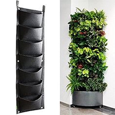Yunhigh 7 Pocket Vertical Wall Mounted Rattan Garden Planters Outdoor Indoor Garden Grow Bags Hanging Flower Planters for Strawberry Herb Plant