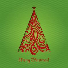 #Green #Christmas #Card, #vector #illustration by #DryIcons.com.