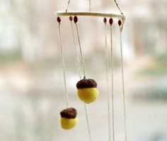 Wind Chime acorns mobile canary yellow lemon family by CityCrochet, $30.00