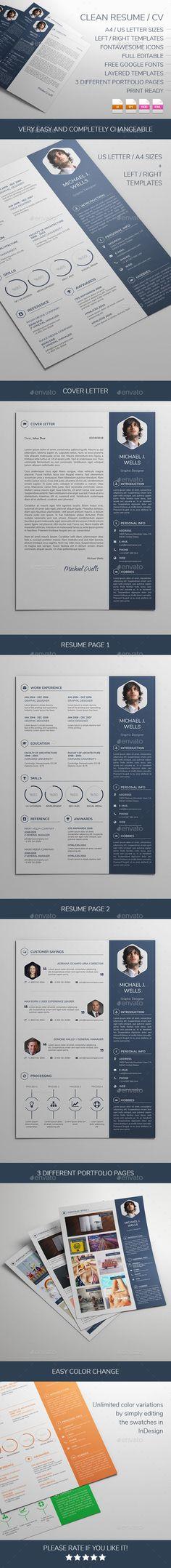 Clean Resume/CV Bundle Creative, Template and Resume cv