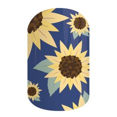 Sunflower | Jamberry | Bright yellow sunflowers on a true-blue background make this dreaming-of-spring design a new floral favorite!
