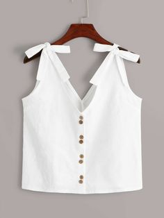 To find out about the Bow Tie Button Front Top at SHEIN, part of our latest Women Tops ready to shop online today! Look Fashion, Trendy Fashion, Fashion Outfits, Crop Top Outfits, Cute Outfits, Bow Tops, Women's Tops, Trendy Tops, Minimal Fashion