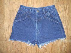 Vintage Denim Cut Offs - Vintage 80s/90s Dark Wash Blue Jean Shorts - High Waisted Cut Off/Frayed Short Shorts/Daisy Dukes - Sale - Size 7/8. $10.00, via Etsy.