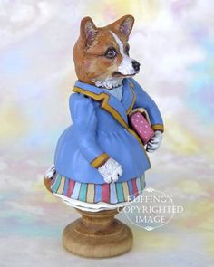 Dog Art Doll OOAK Original Corgi Hand Painted Folk Art by ruffings, $225.00