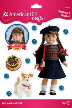 American Girl Crafts Sturdy Stickers, Molly McIntire Navy Argyle Sweater by EK Success. $6.10. Just peel and stick.. Personalize notebooks, folders, bags, and more.. For Ages 8+. Sturdy chipboard adhesive stickers featuring an American Girl historical character.. 11 pieces included. From the Manufacturer                Molly McIntire and all of her favorite things are ready for crafting with these chipboard stickers from American Girl Crafts. Just peel and stick to crea...