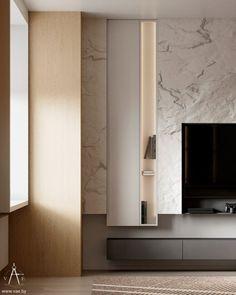 SREDA on Behance Feature Wall Design, Tv Wall Design, House Design, Living Room Tv Unit, Living Room Interior, Living Room Decor, Luxury Homes Interior, Interior Architecture, Interior Design