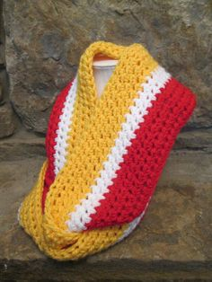 Crochet Chunky Infinity Scarf – Handmade—Team Colors--KC CHIEFS--Red White Gold