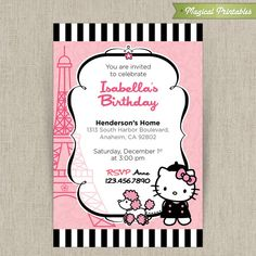 This listing is for a customizable Hello Kitty in Paris with French Poodle design only in .JPG format, and includes an emailed 4x6 in. invitation. Please be aware that no printed materials will be shipped.  The design is not editable, but can be printed as many times as you need.